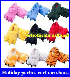 Wholesale Indoor Cartoon Slipper - Family Unisex Mens Womens Children Mom Daddy Cartoon Animal Kigurumi Slippers Paw Claw Home Flat Shoes Warm Winter Indoor top sale free ship