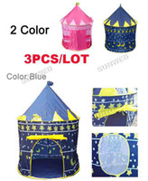 Wholesale 2set Sunmmer Pink Blue Portable Childern Baby s Tent Playing Indoor Outdoor Baby s Palace Tent Castle