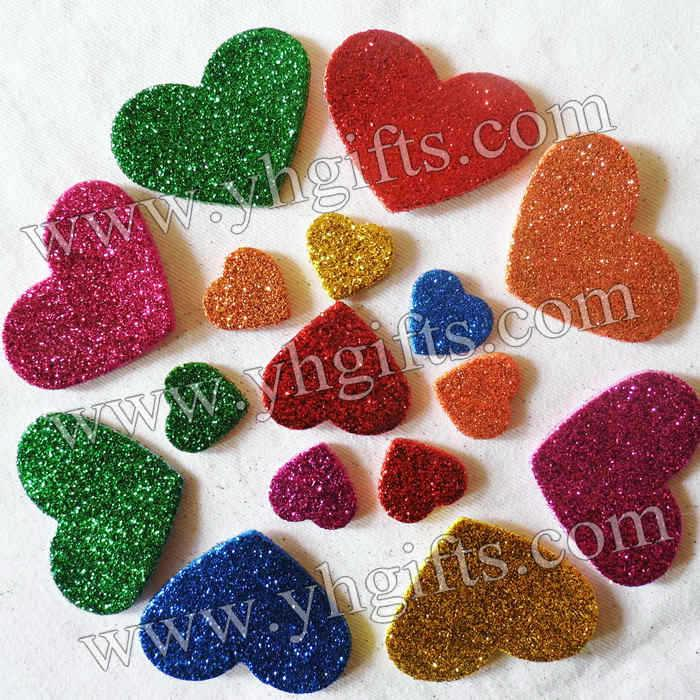 Mixed size glitter heart stickers foam adhesive stickers for Fomic sheet decoration youtube