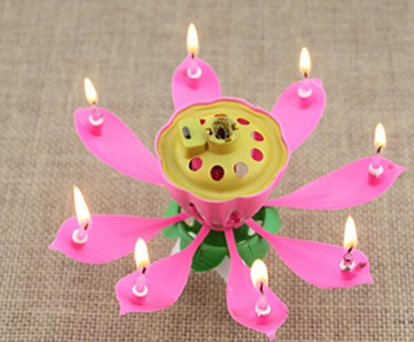 Musik Kerze Geburtstag Party Hochzeit Lotus funkelnde Blume Kerzen Licht Event festliche Supplies ems frei