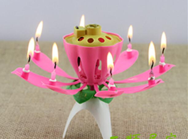 Bougie Musique Fête D'anniversaire De Mariage Lotus Mousseux Fleur Bougies lumière Événement Festive Fournitures EMS gratuit