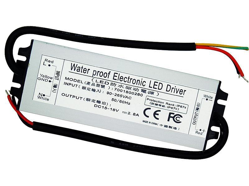 50 W Su Geçirmez Elektronik LED Sürücü Güç Kaynağı IP67 DC 15-18 V 2.8A 90-265 V AC 50 W Yüksek Güç LED Işık Için DIY