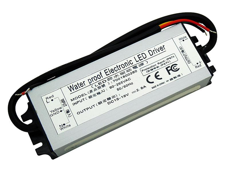 50W Waterproof Electronic Led Driver Power Supply IP67 DC 15-18V 2.8A 90-265V AC For 50W High Power Led Light DIY