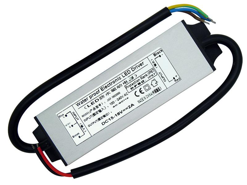30W Waterproof Electronic Led Driver Power Supply IP67 DC 15-18V 2A 100-240V AC For 30W High Power Led Light