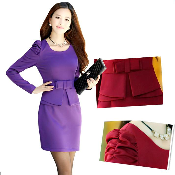 Women Fit Purple Pencil Dress Ladies Office Suit Long Sleeve Pleated Work Round Ruffle Bow Formal Gown Party Wedding Fashion Elegant