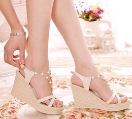 Wholesale Sexiest Heels Wholesale - 2014 Sexy Bohemia Women high-heeled Sandals Female Beaded Metal chain crystal wedge heel Women's Wedges Sandals 3 colours Free shipping