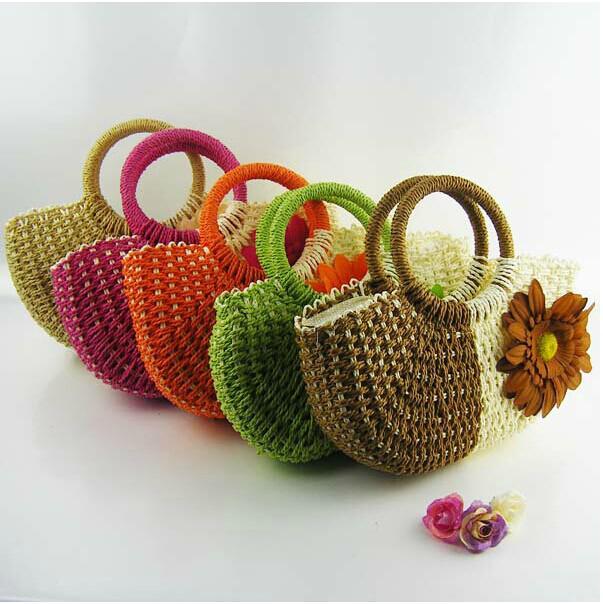 New Hot Styles Hand Knit Beach Resort Sunflower Handbag Fashion Crocheted Straw Hand Bags Free Shipping