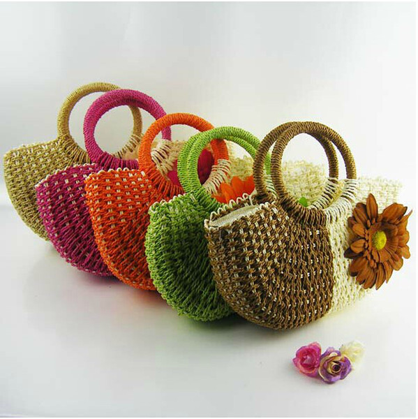 New Hot Styles Hand Knit Beach Resort Sunflower Handbag Fashion Crocheted Straw Hand Bags Free Shipping