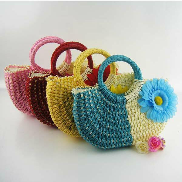 La nueva manera caliente del bolso del girasol del centro turístico de playa del Knit de la mano de los estilos empaqueta los bolsos de mano de la paja que envían libremente
