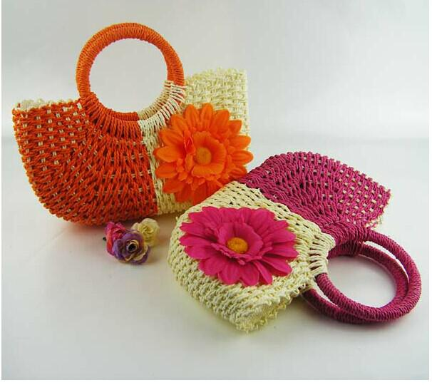 New Hot Styles Hand Knit Beach Resort Sunflower Handbag Fashion Crocheted Straw Hand Bags