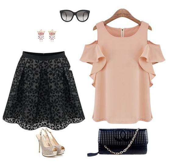 2014 Yeni Moda Yaz Kadın Şifon Bluzlar Off-omuz Ruffled Kollu Seksi Bayanlar Bayan Tops Ve Bluz Casual Kızlar Bluzlar C14