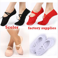 Wholesale Split Sole Canvas Ballet Shoes - Free Shipping 6 Pair New Comfortable Child Canvas Split Sole Ballet Slippers Dance Shoes 5color new top sale