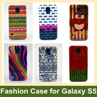Wholesale Mustache Case Cover - Wholesale Fashion Chips Icecream Flag Sights Animal Owl Tribe Mustache Soft Cover Case for Samsung Galaxy S V S5 30pcs lot Free Shipping