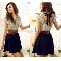 Wholesale Korean Chiffon Mini Dress - Wholesale-Exclusive With Belt, Women Hot Sale Korean Style Ruffles Short Sleeve Chiffon Polka Dots Mini Dress 2792 b003