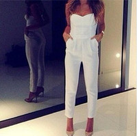 Wholesale Sexy One Piece Clubwear - 2017 Summer V-neck White Jumpsuits Rompers Fashion Women Sexy Strapless Long Jumpsuits Clubwear Party one-piece Jumpsuits Bodysuit Pants K4
