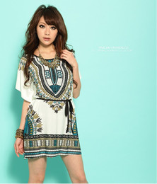 Wholesale Brought Round - Wholesale-Free shipping 2014 New Miniskirt Lce Silk Cotton Bat Sleeve Round Brought National Wind Match Chatelaine Dress