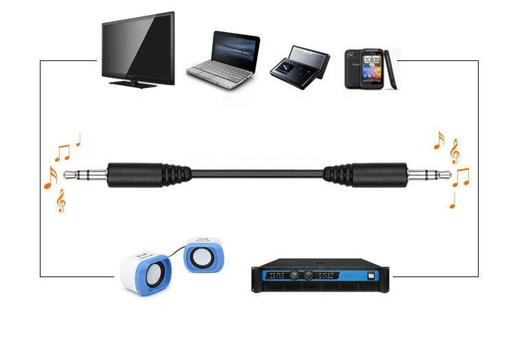 100 pz / lotto Più economico Nero 50 cm 70 cm 100 cm 3.5mm Cavo adattatore maschio-maschio 3.5 mm Mp3 / 4 telefono cellulare