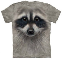 M / L / XL / XXL (YNM) 2014 fabbrica moda calda donna uomo Cartoon RACCOON FACE stampa divertente 3d t-shirt spazio Galaxy t-shirt supera it