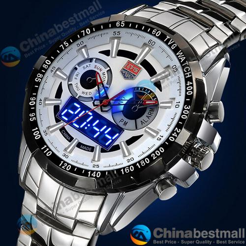 TVG Sports City Hunter Led Pointer Quartz Wristwatch Men Fashion 30AM Waterproof Dual Time man Military Watches with Luminous