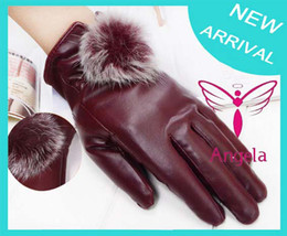 Wholesale Thermal Waterproof Mittens - 2013 women's winter Waterproof leather gloves rabbit fur ball thermal gloves high quality PU gloves Warm Christmas Gift WG-011
