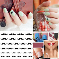Wholesale Moustache Nail Art - Wholesale-Black Moustache Design Nail Water Transfer Decals Sticker Wrap nail art Decoration Drop Shipping