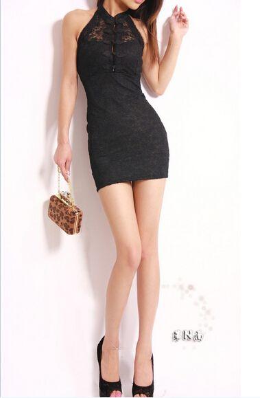 New Sexy women lace cheongsam dresses halter neckline backless buttocks tight slim dress Mini skirt night Club party clothing gifts