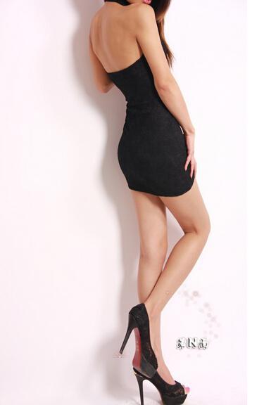 Neue reizvolle Frauen schnüren cheongsam Kleider Halterausschnitt backless Gesäß festes dünnes Kleid Minirock Nacht Verein-Parteikleidungsgeschenke