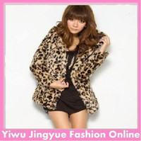 Wholesale Leopard Coats For Women - 2014 New fashion Faux fur coat for women Leopard coat long sleeve outwear free shipping