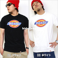 Wholesale men dickies - Wholesale-Nature cotton hip hop summer tee shirt hiphop breathable t shirt tshirt Dickies logo printed short sleeve t-shirt