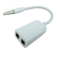 cabo de áudio fêmea de 3,5 mm venda por atacado-100 pçs / lote Jack 3.5mm para Dual 3.5mm Cabo macho para fêmea cabos de áudio splitter adaptador cabo kabel plugue fone de ouvido estéreo fone de ouvido fone de ouvido