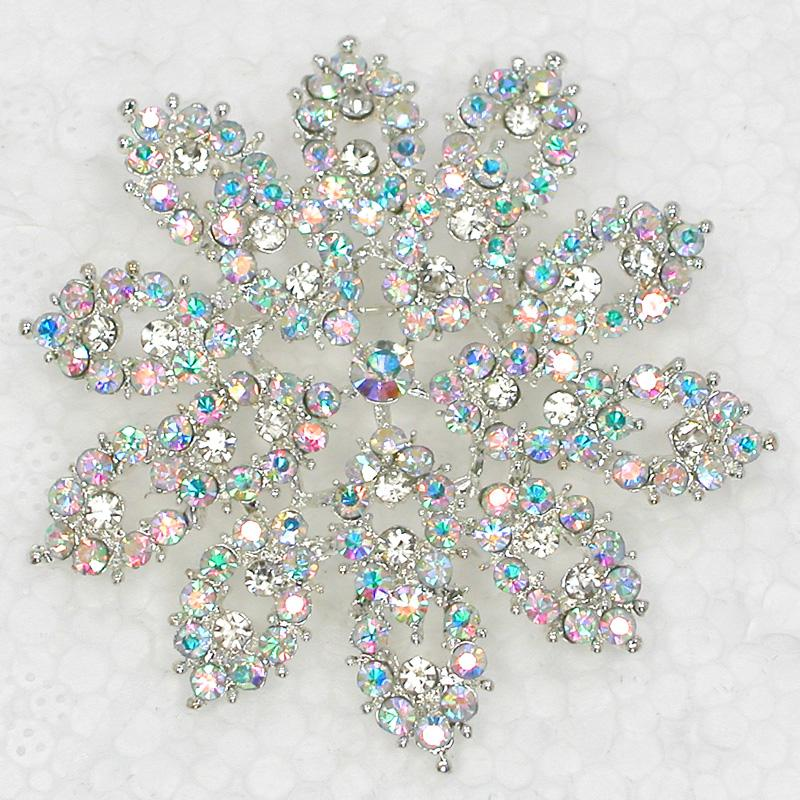 Comercio al por mayor Crystal Rhinestone Broches Wedding Girl Flower pin broche Party Prom Jewelry regalo C2077