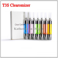 Wholesale T3s Atomizer Clearomizer Replaceable Filter - T3S Clearomizer Colorful Atomizer Replaceable Filter Changeable Coil for Ego Series E cigarette Cig Electronic cigarette T3 Update Version