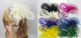 Wholesale Gauze Hair Flower - women wedding gauze yarn lace feather flower pearl beaded hat cap with black headband hair bands photography props party hair jewelry sell