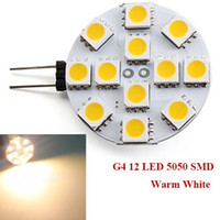 Wholesale G4 Led 12 Warm White - 5050 SMD 12 LED G4 Base Side Pin light Car Reading Bulb lamp DC 12V Pure White Warm White LED Corn Light Bulb