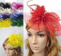 Wholesale Plant Photography - Girl Bridal wedding gauze yarn lace feather flower pearl beaded hat cap with black headband hair bands photography props party hair jewelry