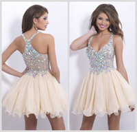 Wholesale Champagne Cocktail Dresses Sweetheart - Champagne Homecoming Dresses Sweetheart Chiffon Sheer Rhinestone Crystal Criss Cross Back Short Mini Blush Party Cocktail Gowns 9857