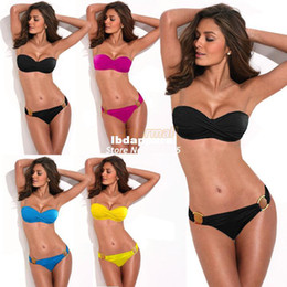 Wholesale Twist Bikini Set - swimwear Wholesale-2014 New Women Sexy Bandage Bikinis set Swimsuit Stars Stripes Flag Padded Twisted Bandeau Tube Swim wear b4 SV000931