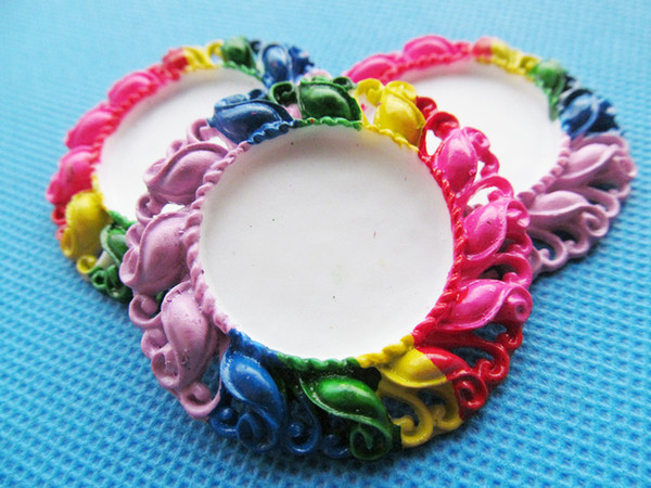 50pcs Handwork Rainbow Round Flatback Resin Flower Charm Finding,Filigree Border Base Setting Tray, for 25mm Picture/Cabochon/Cameo