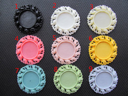 Wholesale Cabochon Trays - 100pcs Round Flatback (19 Colors) Resin Flower Frame Charm Finding,Filigree Border Base Setting Tray, for 25mm Picture Cabochon  Cameo
