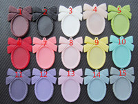 Wholesale 18x25mm Resin - Wholesale 50pcs Oval Flatback Resin Bowknot Bow tie Frame Charm Finding,Filigree Border Base Setting Tray,for 18x25mm Cabochon Pictur