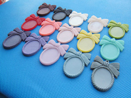 Wholesale 18x25mm Resin - Wholesale 100pcs Oval Flatback Resin Bowknot Bow tie Frame Charm Finding,Filigree Border Base Setting Tray,for 18x25mm Cabochon Pictur