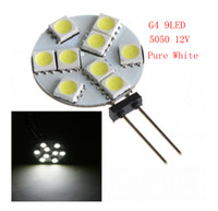 Wholesale Pc Spotlight - X 50 PCS G4 9LED SMD5050 12V Pure White Warm White Spot Spotlight Office car Light Bulb Lamp