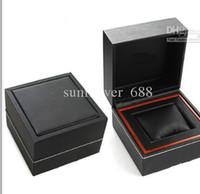 Wholesale Stainless Steel Paper Box - 2014 NEW square black leather box for tag calibre watches booklet card tags and papers in english