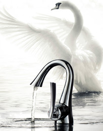 Wholesale Swan Sink Faucets - Bathroom sink faucet basin mixer tap chrome art style swan chrome finish brass copper hot&cold water single handle Deck Mounted-DG39101