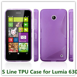 Wholesale Case Jelly S Line - 35PCS New Colorful Soft S Line TPU Simple Back Skin Phone Bags Case for Nokia 630 Soft Jelly Covers Case Free Shipping