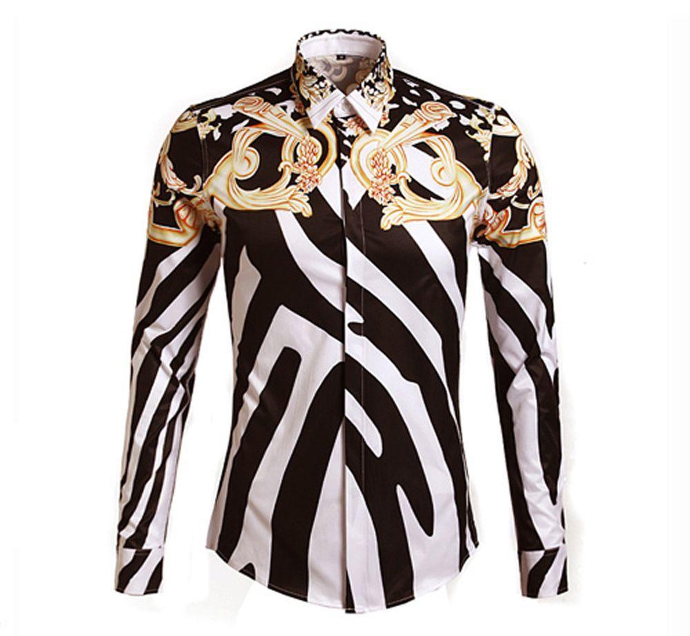 Zebra shirt design - Online Cheap 2014 Designer Shirts Men Zebra Print Luxury Casual Slim Fit Stylish Dress Shirts Long Sleeved Mens Shirts Cotton Fashion Clothing M 3xl By