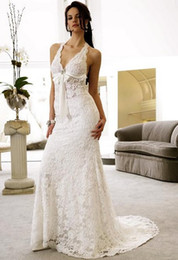 Wholesale Discount Bows Ribbons - Discount,Vintage Lace Backless Beach Wedding Dresses 2014 Bow A Line Halter Neck Court Train Simple Sexy Destination Bridal Gowns Dress Prom