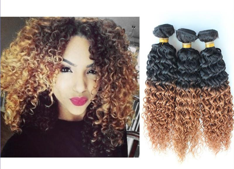5a Remy Peruvian Virgin Hair Afro Kinky Curly Ombre Hair Extension