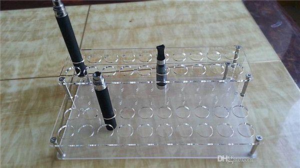 Acrylic e cig display clear standing shelf holder rack for ecig vaporizer pen electronic cigarette ego k evod battery atomizer DHL