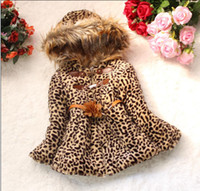 Wholesale Girls Leopard Dress Coat - Girls Winter Dresses Leopard Grain Cotton-Padded With Hood Winter Jacket Long Sleevele with With zipper and Flower belt for girls GDWA001